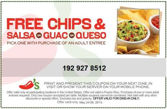 FREE Chips & Dip of your choice at Chili's! Exp. 5/26/13