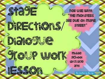 stage directions dialogue task cards for the monsters are due ccss activities the o 39 jays. Black Bedroom Furniture Sets. Home Design Ideas