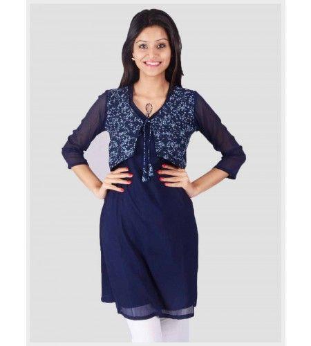 Jacket style Kurti gives you the Punjabi look! | Women Kurtis ...