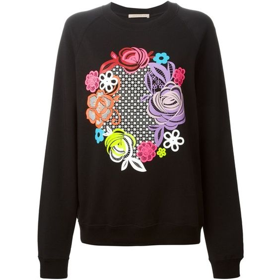 Christopher Kane floral print sweatshirt (509 CAD) ❤ liked on Polyvore featuring tops, hoodies, sweatshirts, black, sweatshirt hoodies, colorful sweatshirts, crewneck sweatshirt, black top and black sweat shirt