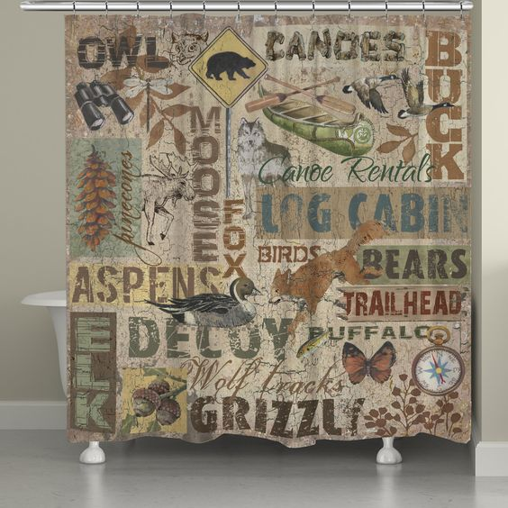 Bring the great outdoors into your home with this collage of outdoor images and stylish typography. The 'Rustic Lodge Words Shower Curtain' by Laural Home has a textured look and is perfect for any lake, lodge or country house.