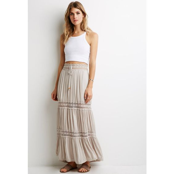 Love 21 Crochet-Paneled Crepe Maxi Skirt (2110 DZD) ❤ liked on Polyvore featuring skirts, beaded maxi skirt, ankle length skirt, white maxi skirt, panel skirt and white skirt