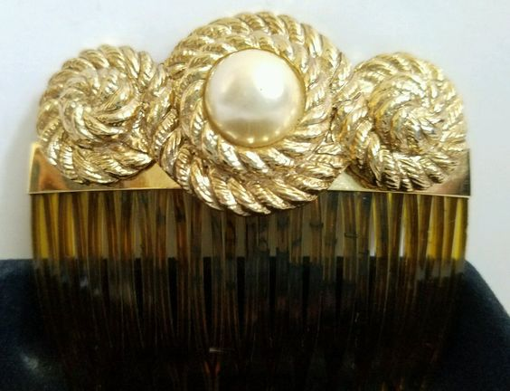 Vintage Kirks Folly Gold Antique French Twist Hair Comb Jewelry Pearl RARE USA | eBay