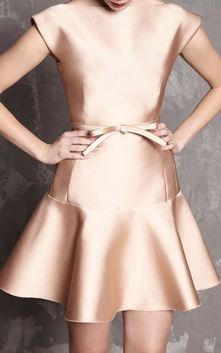 Nude Duchess Satin Fit And Flare Dress by PAULE KA for Preorder on Moda Operandi