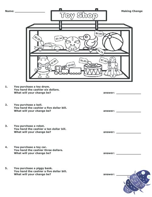 math worksheet : making change at a toy store  subtraction worksheets free  : Making Change Math Worksheets