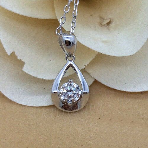 Halo Pendant Necklaces 1.50 Ct Simulated Diamond Round Cut Solid 14K White Gold Finish 925 Sterling Silver