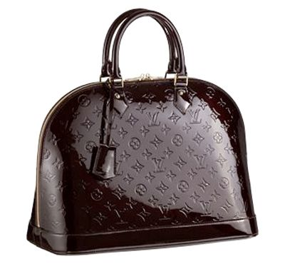 if you're a lucky owner of the Louis Vuitton classic bag that is popular all over the places then your next choice should fall on this absolutely beautiful Alma bag that comes in shiny monogrammed Vernis leather.