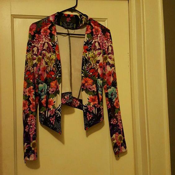 2B Bebe Assymetrical Flower Blazer A lite blazer with a lot of style. bebe Jackets & Coats Blazers