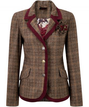 """The big favourite from last year's Heritage season is back! You asked for our English country style jacket to be shorter and here it is trimmed with velvet, complete with a detachable corsage. Approx Length: 66cm Our model is: 5'10""""  Cami  sold separately"""