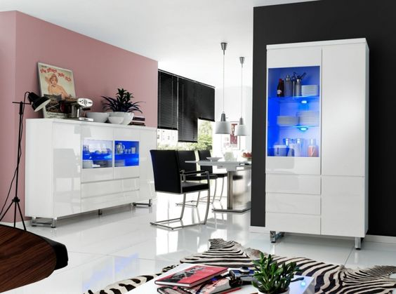 SINTIA Sideboard mit Glaselement, #weiss #Hochglanz #esszimmer #modern #elegant #beleuchtung