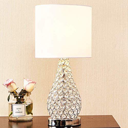 Popilion Alloy Crystal Base Livingroom Bedroom Bedside Table Lamp Wide Lampshade In 2020 Bedside Table Lamps Lamp Crystal Table Lamps