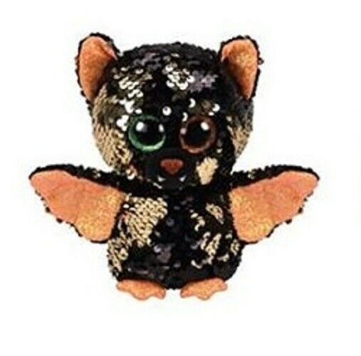 "2019 Halloween TY 6/"" Flippables OMEN Bat Beanie Boos Sequin Plush w// Heart Tags"