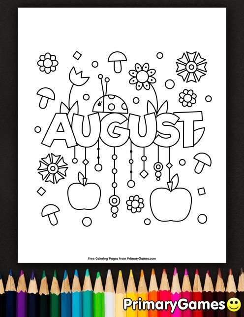 August Coloring Page Free Printable Ebook Summer Coloring