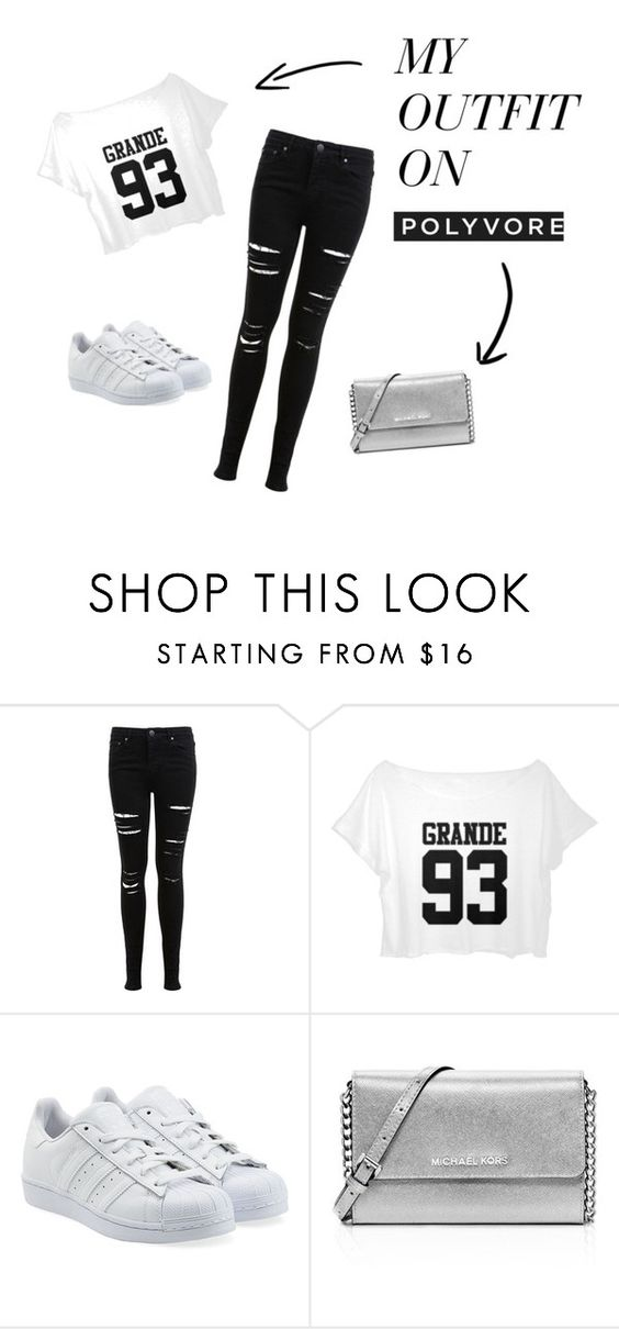 """black and white street"" by lindsayf971 on Polyvore featuring mode, Miss Selfridge, adidas Originals et MICHAEL Michael Kors"