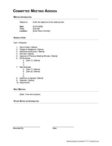 Download the Committee Meeting Agenda - Outline Format from - meeting agenda outline