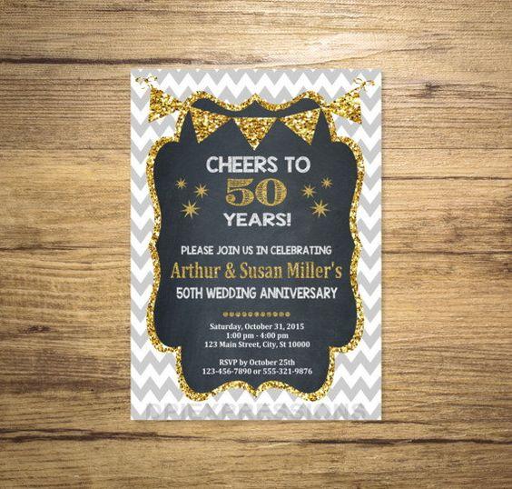 Golden Wedding Anniversary Invitation Chalkboard by DPIexpressions