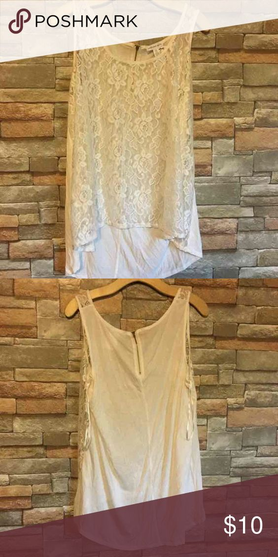 1X white lace tank 1X sheer lace front tank zipper neck detail. Sheer front, long white back. Fits small. Ambiance Apparel Tops Tank Tops