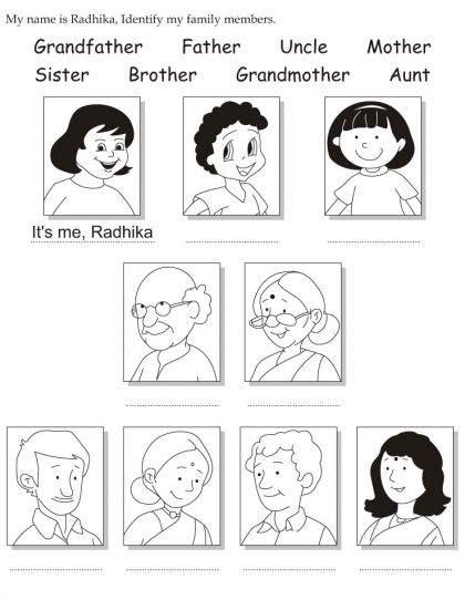 math worksheet : my name is radhika identify my family members  download free my  : Family Worksheets For Kindergarten