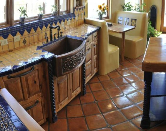 Mexican kitchen fantastic copper farm style ornate sink for Mexican kitchen designs photos