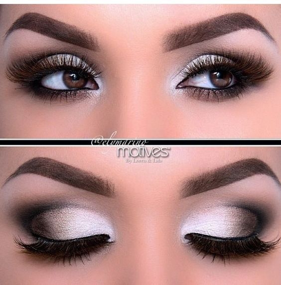 Love this smokey eye with the shimmering white shadow, especially in the corners of the eyes.
