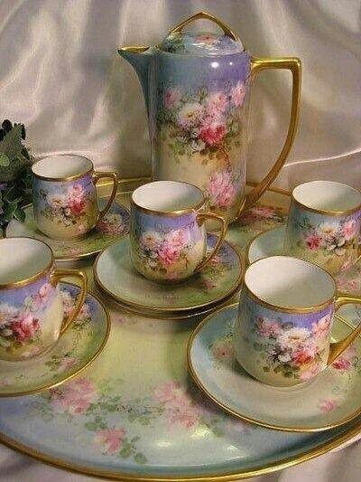 Tea set/Hot  Chocolate...Love This Hand Painted Set