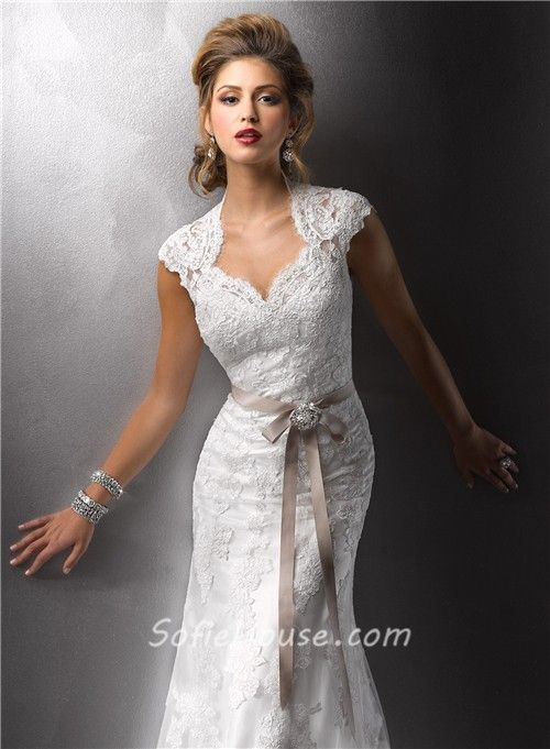 Antique lace wedding dresses cap sleeves vintage for Cap sleeve sheath wedding dress