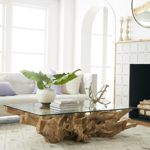 Teak Root Coffee Table Wisteria Coffee Table Living Room Coffee Table Glass Table Living Room