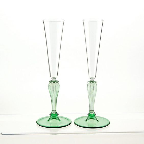 Champagne toasting flutes green hand blown glasses flute green and etsy - Hand blown champagne flutes ...