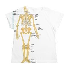 Skeleton chart Women's All Over Print T-Shirt - because one of the most common co-conditions effects our joints