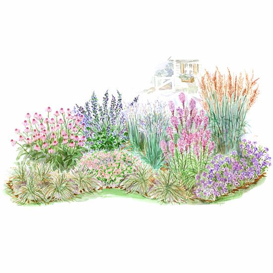 Make a Mini-Prairie ~~ Including native plants in your garden creates habitat for all sorts of desirable wildlife. This prairie-inspired plan includes native grasses and wildflowers that will become a magnet for birds, butterflies, and other fun-to-watch critters. Garden size: 20 by 8 feet.