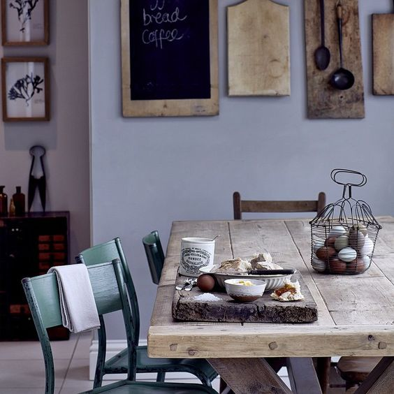 A sunny breakfast setting at our reclaimed timber dining table.  Picture thanks to photographer @markcocksedge #reclaimed #salvaged #dining #table #homebarn  http://www.homebarnshop.co.uk/product-category/view-all-vintage-reclaimed-furniture-homeware/