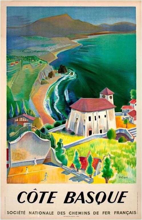 Vecoux Cote Basque Societe Nationale Des Chemins De Fer Francais Signed By Vecoux Vintage Poster Art Vintage Posters French Poster