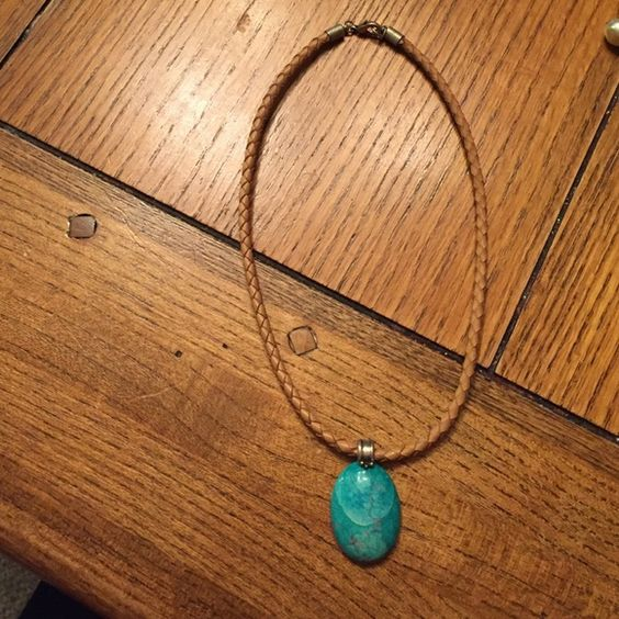 Turquoise pendant On leather cord necklace Super cute turquoise necklace Jewelry Necklaces