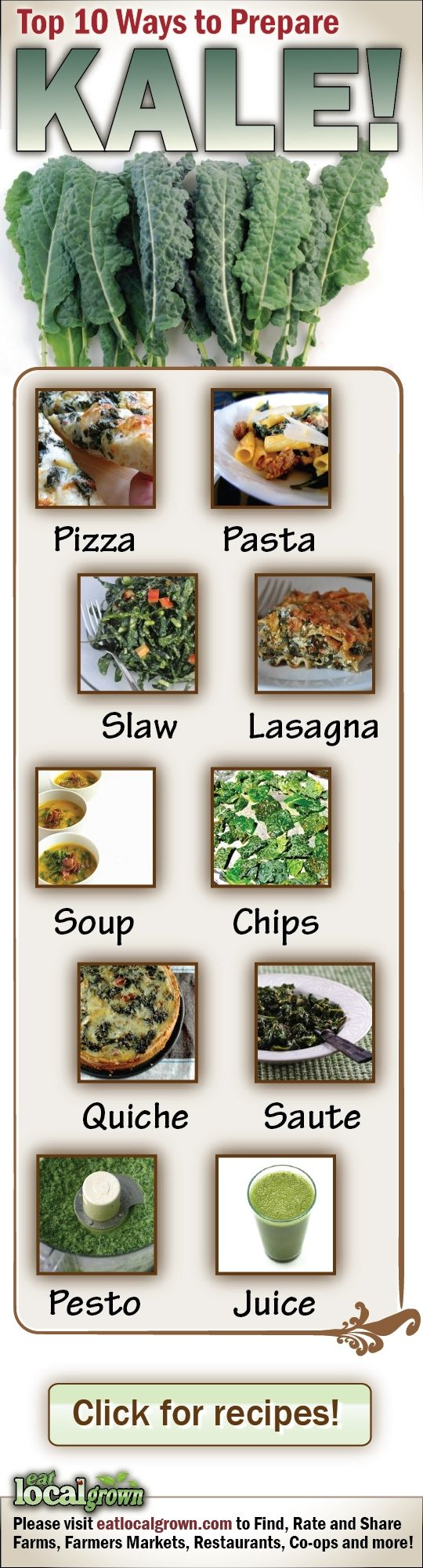 Top 10 Ways to Prepare Kale - the thing is uneatable for me, so let's see if these work!