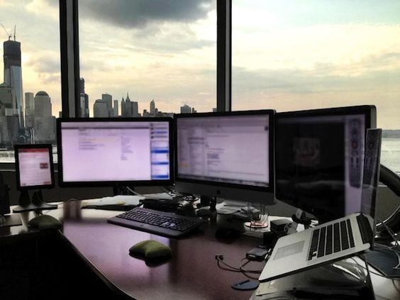 Home Office Dual Desk Setup: Best Setup Ever! Mac Setups: CEO's Desk: IMac 27″, Retina