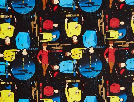 Dc comics star trek cotton fabric by camelot for some for Space pants fabric