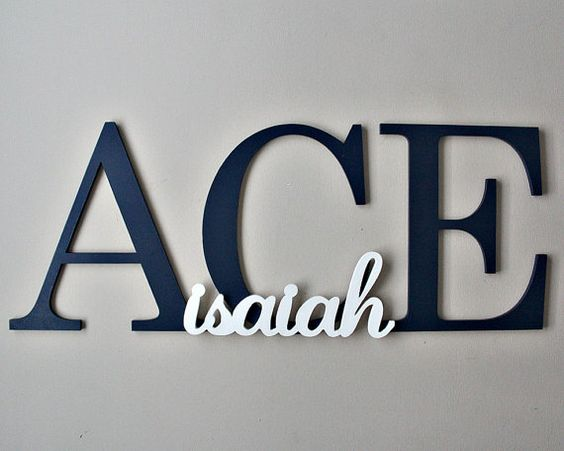 Personalized Large Capital Letters, Nursery Name Sign, Custom Wooden