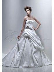 Silky Dupion Strapless bustled Skirt A-line Wedding Dress