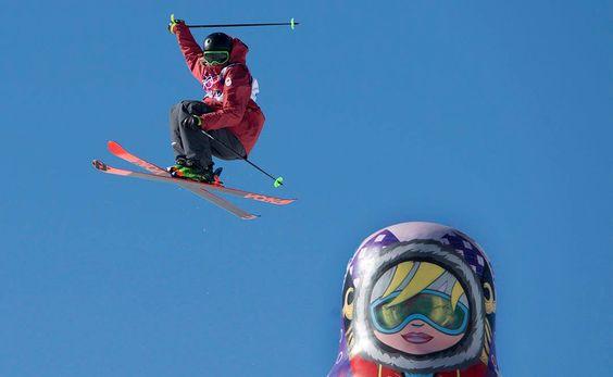 JO Sotchi - Février 2014 - Alex Beaulieu-Marchand pendant l'épreuve du slopestyle en ski acrobatique.