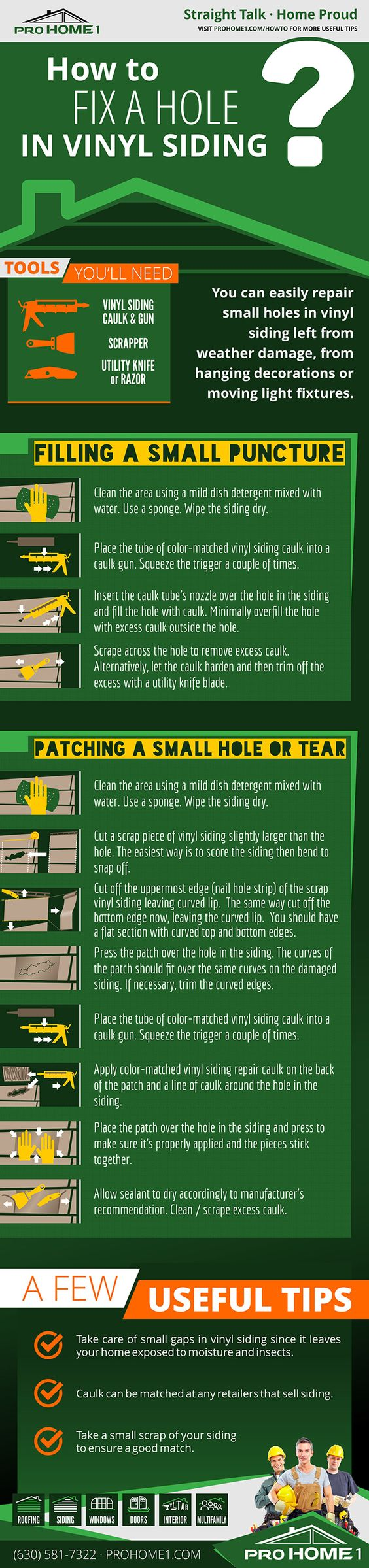 You can easily repair small holes in vinyl siding left from weather damage, from hanging decorations or moving light fixtures. Here's how to: http://www.prohome1.com/en/about-us/guides/how-to-fix-patch-vinyl-siding.html #howto #tips #vynilsiding #vynilsidingrepairs
