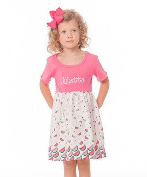 Look what I found on #zulily! Pink Watermelon Personalized Dress - Infant, Toddler & Girls by Smockadot Kids #zulilyfinds