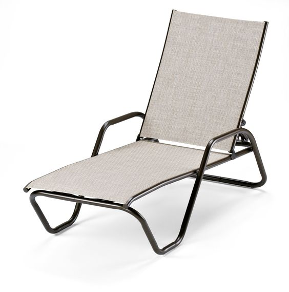 Telescope Casual Furniture Gardenella Sling Collection Four-Position Stacking Aluminum Chaise, Bark, Textured Kona Finish. With over 35 years in the Telescope Casual Line this collection has withstanded the test of time. Extremely Durable Powder coat Finish- Will not Crack or Peel. 100% Aluminum Frame to Ensure Rust Free Furniture. Frame is Made of Recycled Aluminum. Down to Earth with Simply Styling that is attractive and affordable.