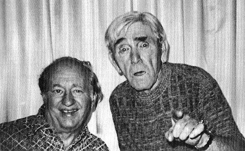 Larry Fine with his fellow Stooge, Moe Howard, in their ... Curly Howard 1952