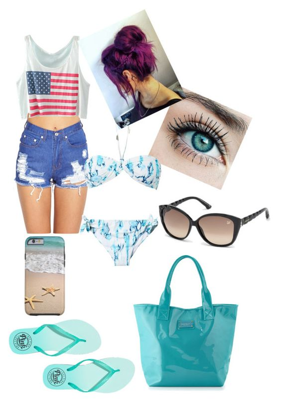 """""""Day At The Beach #2 ."""" by staarosegueda ❤ liked on Polyvore featuring Forever 21, Victoria's Secret PINK, Matthew Williamson, Seafolly and Swarovski"""
