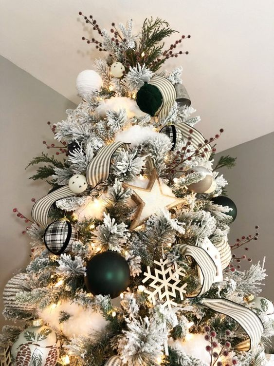 modern farmhouse christmas tree with hunter green, black, white and silver. hygge and hearth & hand inspired.