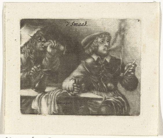 Jacobus Harrewijn | Rokende en etende mannen, Jacobus Harrewijn, 1690 | De Smaak. Twee mannen zitten aan een tafel te roken en te drinken. Een van de mannen zet zijn tanden in een worst.