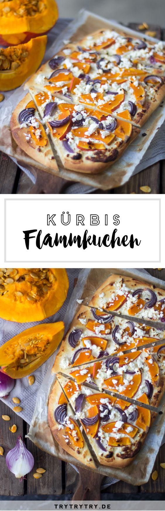 Rezept für Kürbis-Flammkuchen mit Feta und Zwiebeln. Soulfood für den Herbst!
