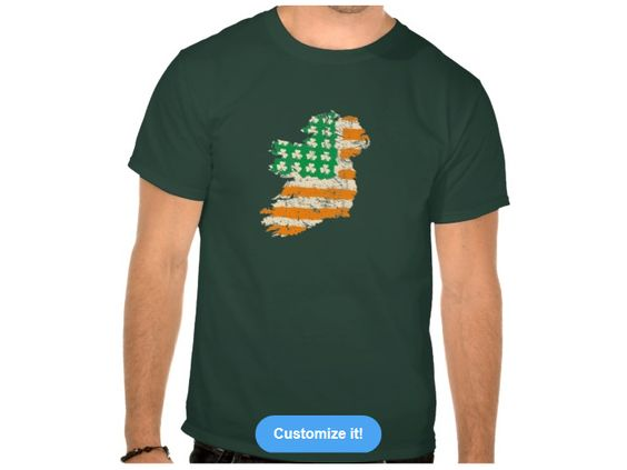 Ireland map with vintage USA Irish flag color of shirt is Forest – Map Usa to Ireland