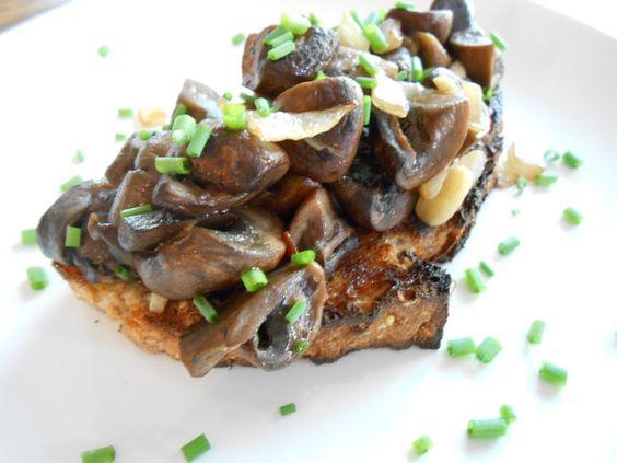 Truffled Mushroom Bruschetta, add cream, poached egg.