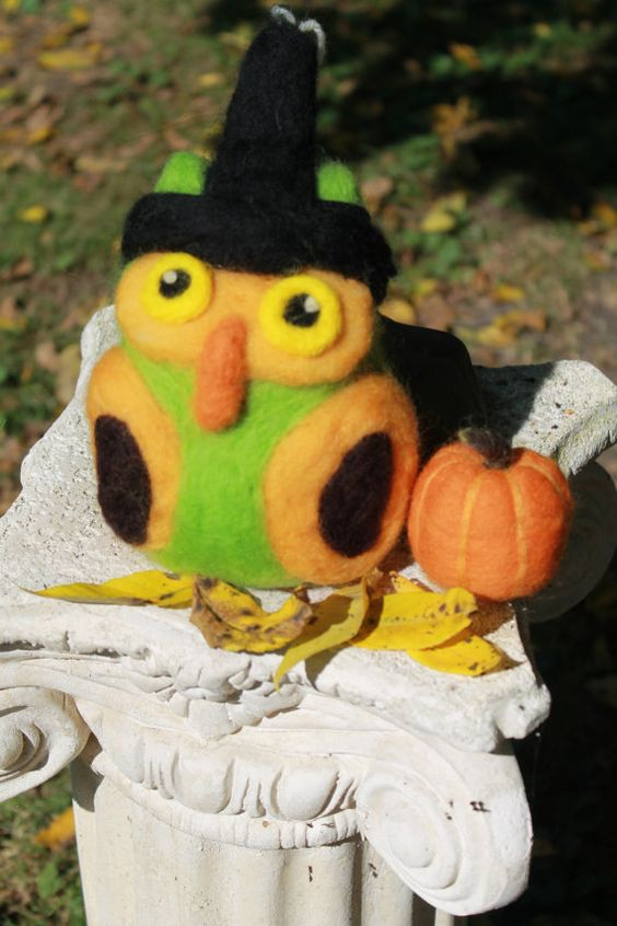Needle Felted Owl Halloween Owl Soft Sculpture by TheRovingArtist, $35.00